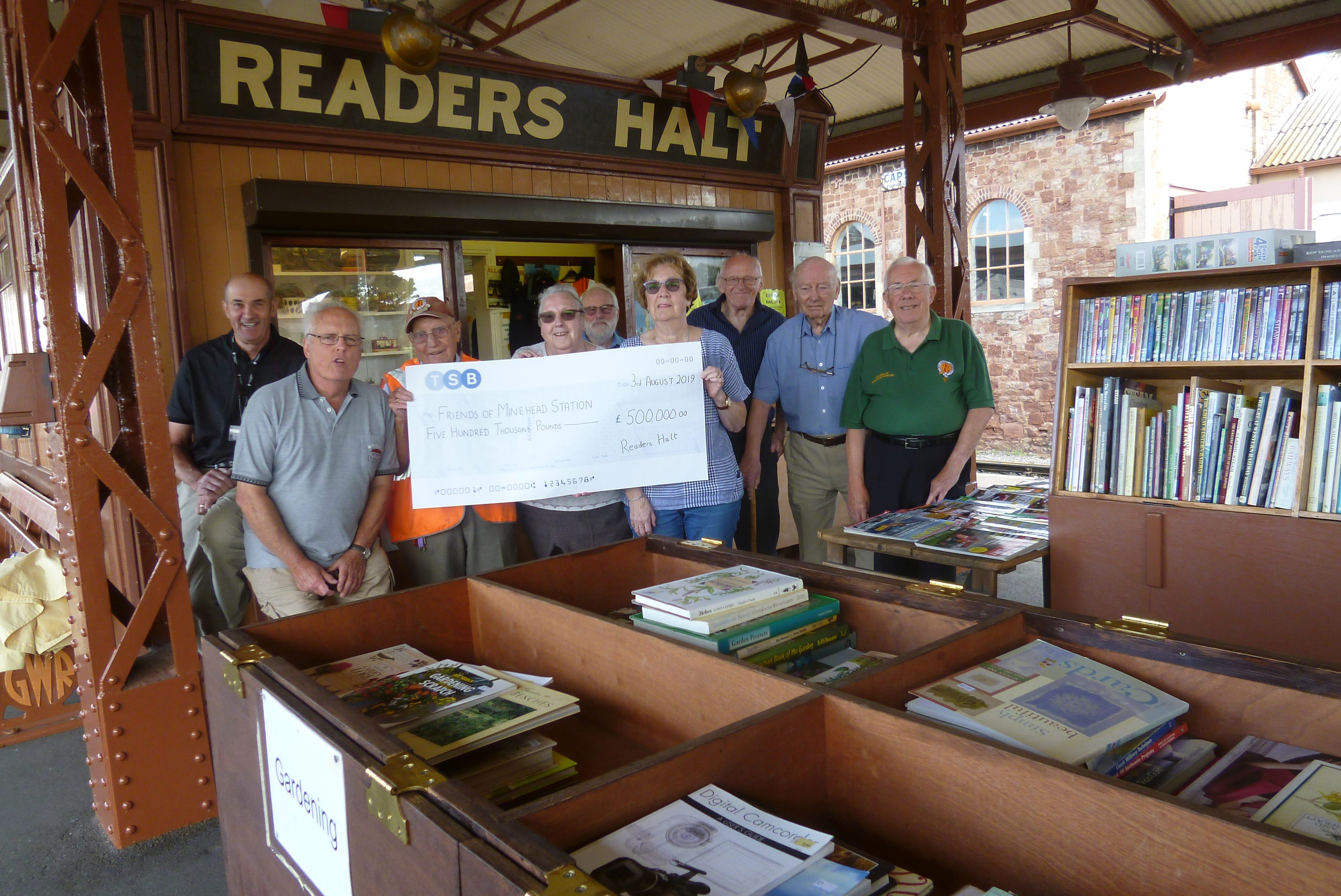 Friends of Minehead Station (FoMS) hit their £500,000 fund-raising milestone on 3 August 2019