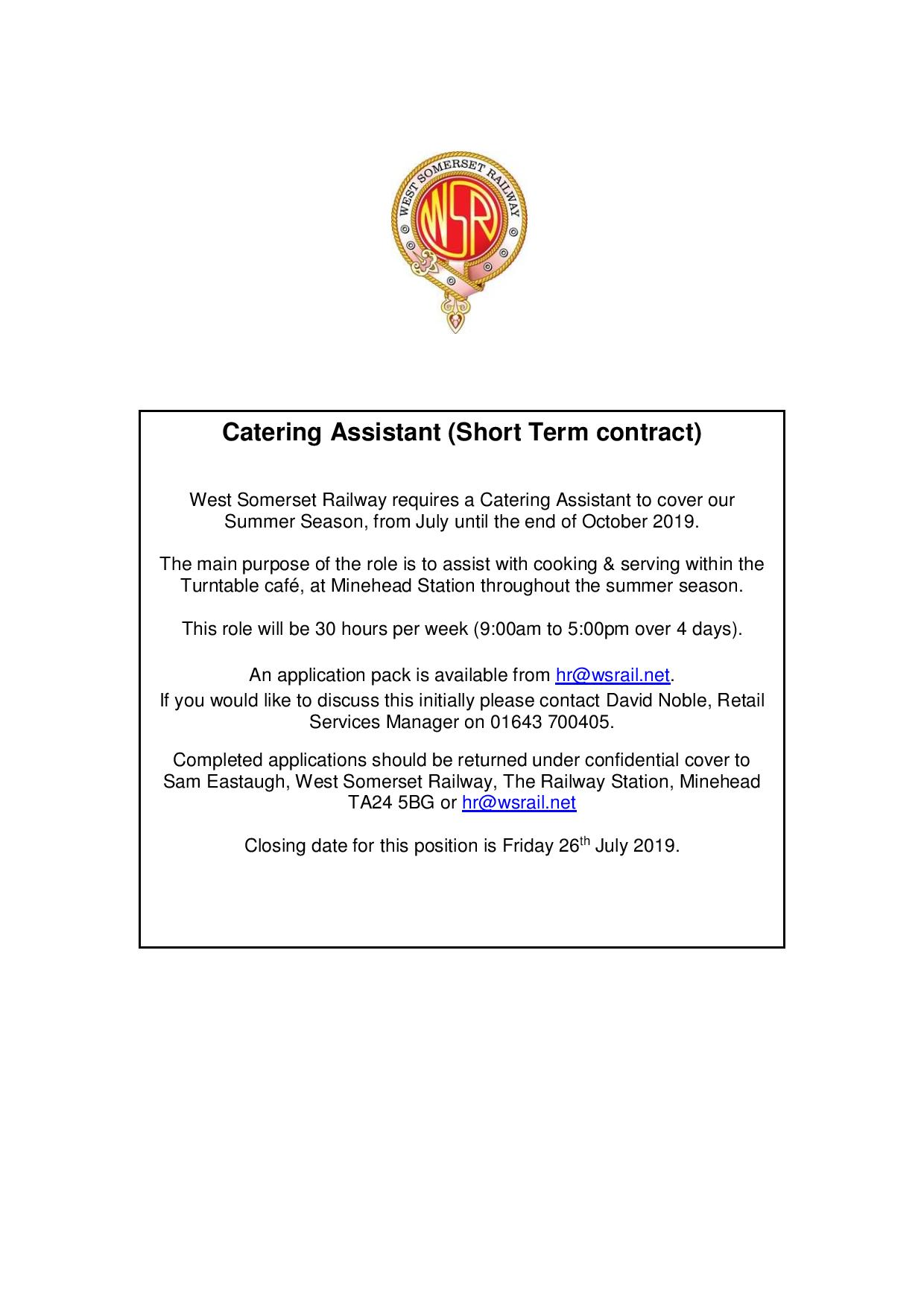 Catering Assistant vacancy