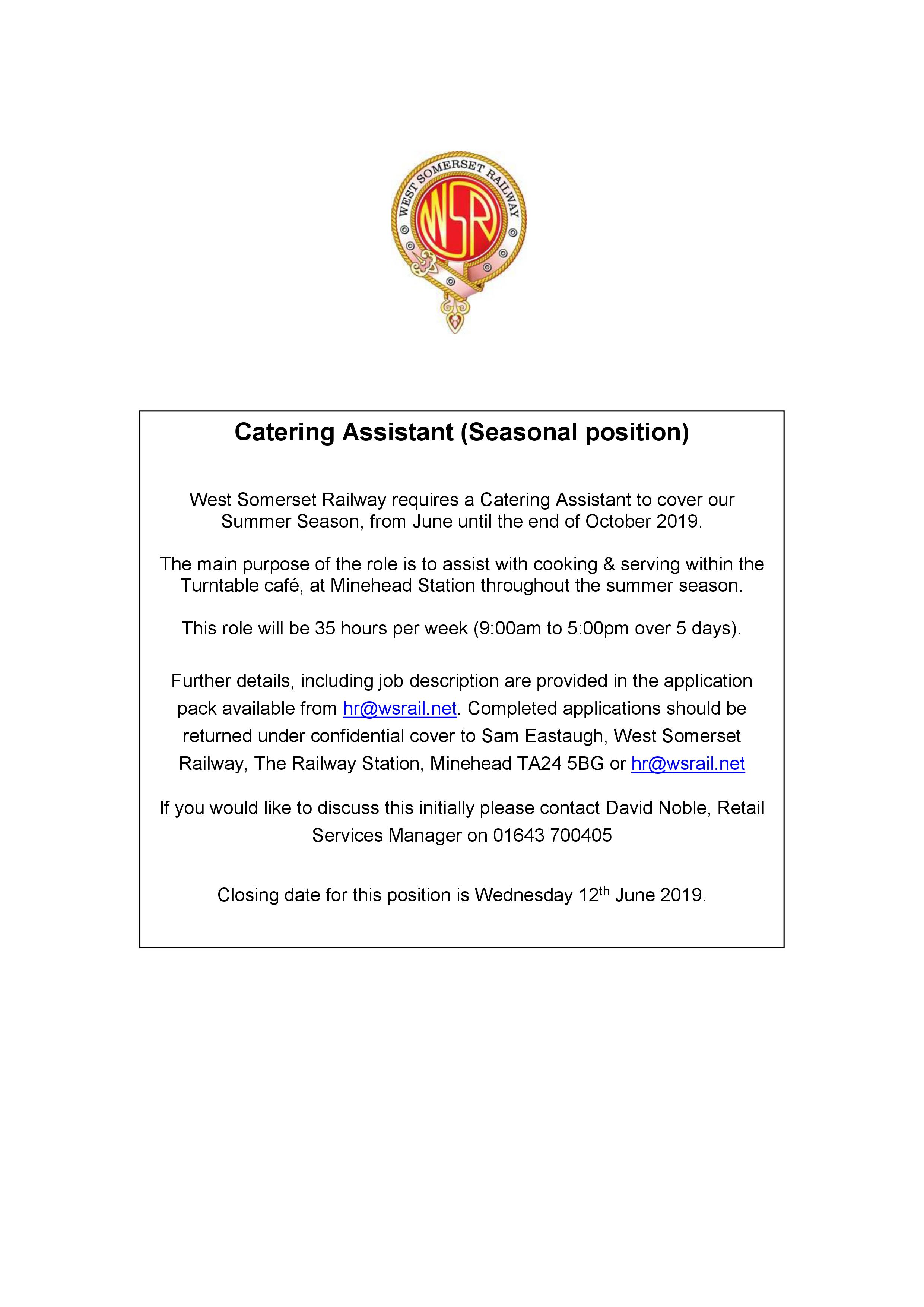 Catering Assistant (Seasonal position)