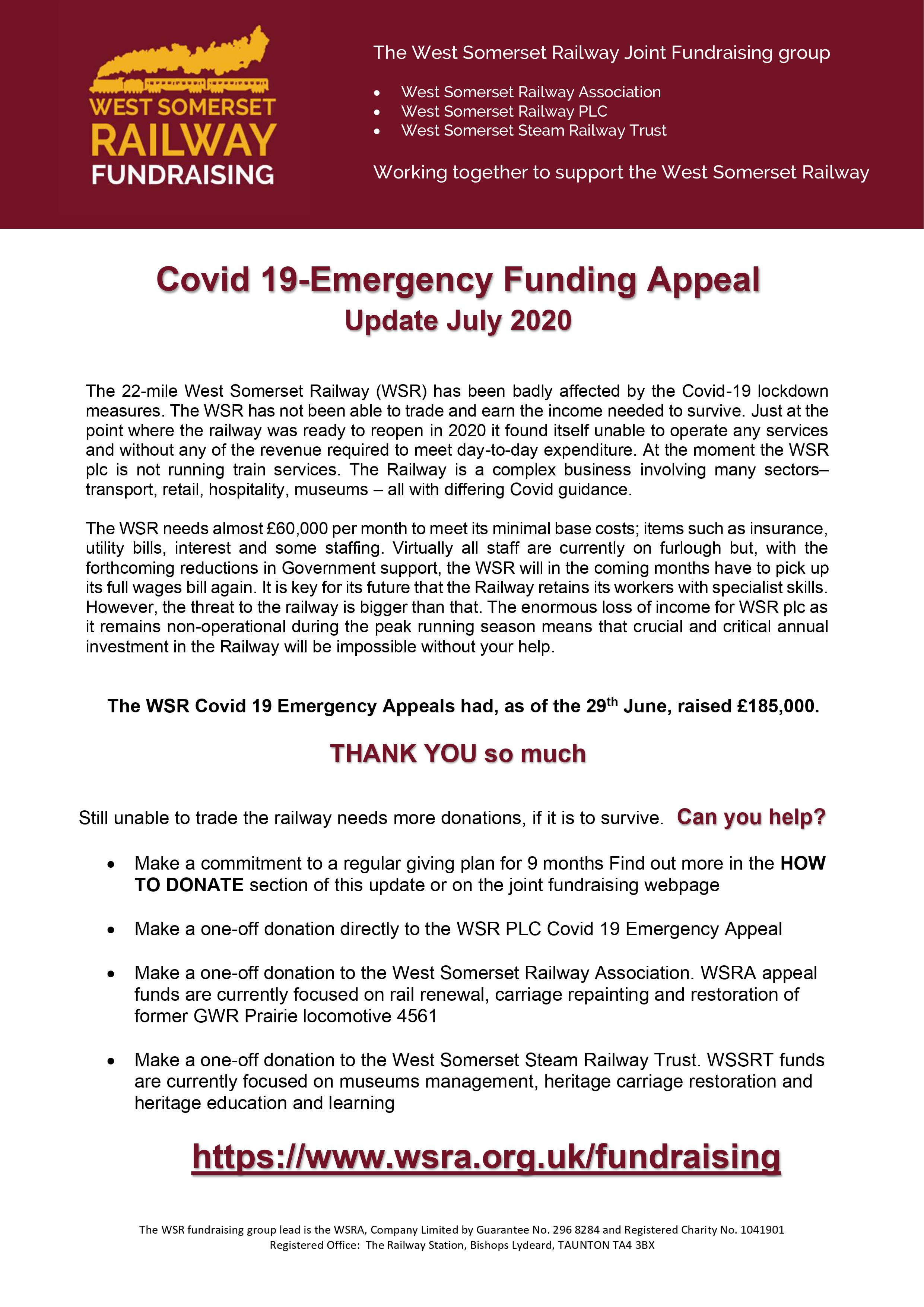 Joint Fundraising Appeal July 2020